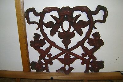 1/2 Vintage Aluminum Architectural Salvage Ornate Rail Piece Garden ROSE LEAVES