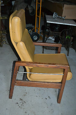 Vtg Hill-Rom Mid Century Lounge vinyl Cushioned wood Chair