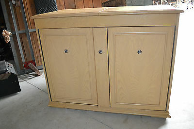 Vtg Blonde wood Wet BAR Cabinet  Plumbed Sink Fridge Freezer Tavern Man Cave