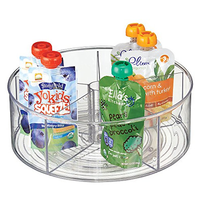 mDesign Lazy Susan for Baby Food Storage - 5 Compartment Multi-Purpose Storage -