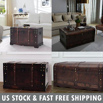 Wooden Treasure Chest Jewelry Box Large Storage Organizer Trunk Coffee Table