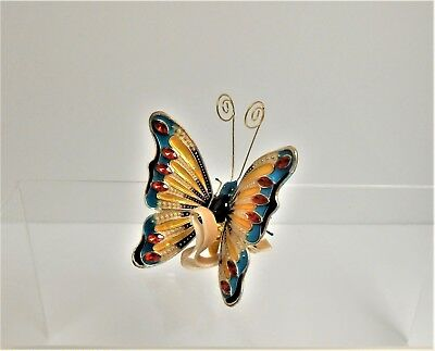 Pier 1 imports Cloisonne Butterfly Copper & Enamel Christmas Ornament New in Box
