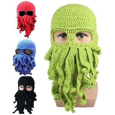 1PC Tentacle Octopus Cthulhu Knit Beanie Hat Head Cap Wind Ski Face Mask Cosplay