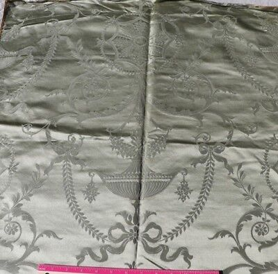 "Antique c1860-70 English Green Silk Sample Fabric~18thC Adam's Style~52""X25"""