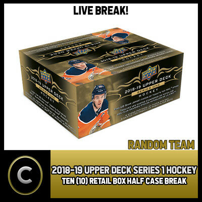 2018-19 Upper Deck Series 1 - 10 Box Half Case Break #h196 - Random Teams