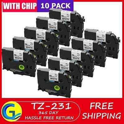 12mm TZe 231 Black on White Lable Tape Compatible for Brother P-Touch 10PK