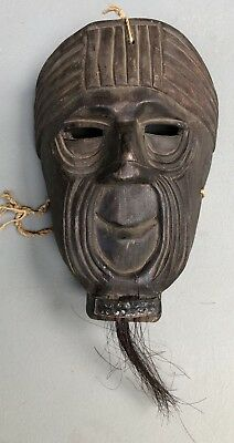 Antique Guatemalan Baile Xacalcojes Carved Wood Mask Man With Whiskers