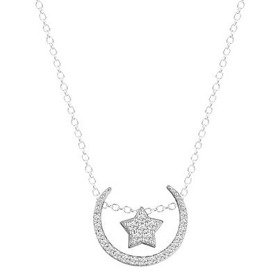 925 Silver Cubic Zirconia Crescent Moon Star Pendant Necklace For Girls Jewelry