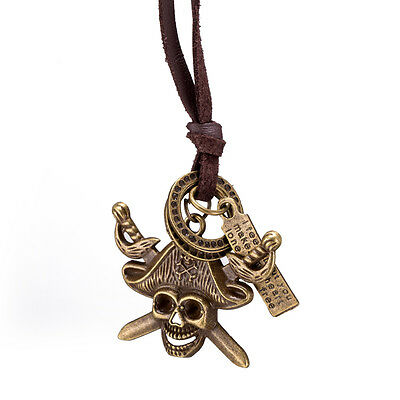 Punk Bronze Pirate Skull Skeleton Pendant Brown Long Leather Necklace For Women