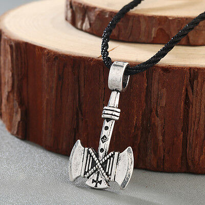 Viking Men Necklace Amulet Axes Gothic Retro Pagan Pendant Vikings Necklace Gift