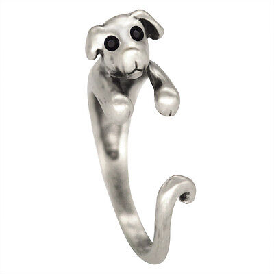 Women Girl Animal Ring Antique Bronze Silver Dog Puppy Wrap Rings