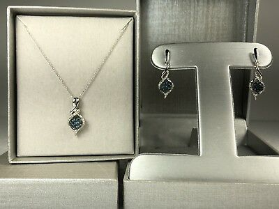 Earrings + Necklace- Zales Blue And White Diamond Cluster Twist