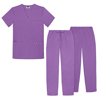 Sivvan Unisex Classic Scrub Set V-neck Top / Drawstring Pants Available in 12 -