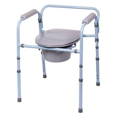 Durable Stable Portable Commode Use as Shower Chair Raised Toilet Seat Bedside
