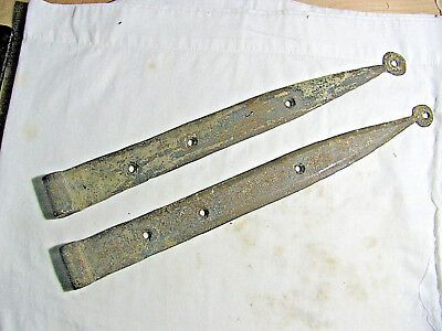Antique Pair Hand Forged Iron Strap Hinges Barn Door 17""