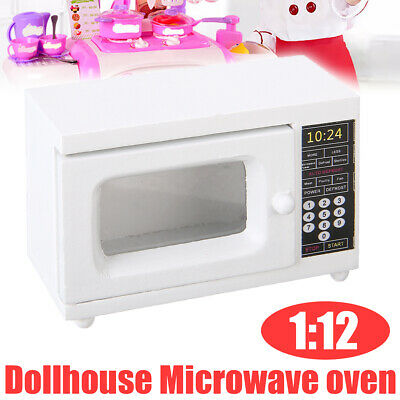 Cute 1/12 Dolls House Miniature Kitchen Accs White Wooden Microwave Oven