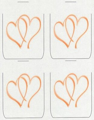SET OF 6 X PERSONALISED 89 x120.7MM GOLD HEARTS WINE BOTTLE LABELS