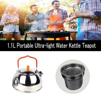 1.1L Titanium Camping Hiking Stainless Steel Water Kettle Teapot Coffee Pot Hot