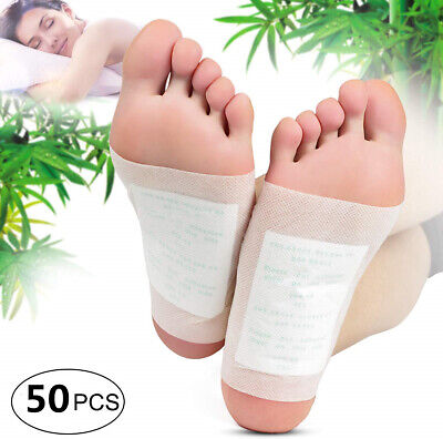 50 CLEANSING KINOKI DETOX FOOT PADS PATCH PAIN RELIEF SOOTHING HERBAL joh