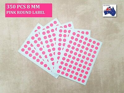 350 Pcs Round Stickers Circle  Dots Spots Label Colour Code Small Pink 8 mm
