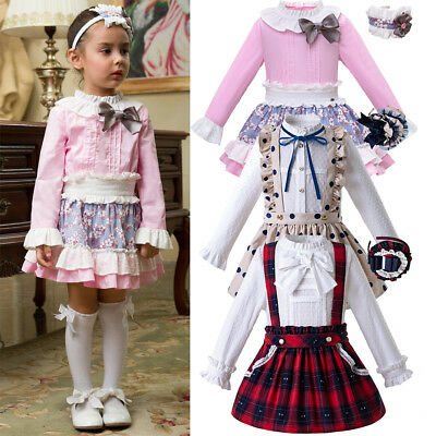 Spanish Romany Girls Dresses Formal Party Occasion Shirts + Skirt Set Outfits