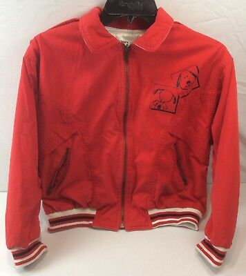 Vintage Reversible Snoopy Children's Jacket Size 10 (140) Red White 80s