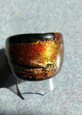 MURANO GLASS RING 24K gold AUTHENTIC handmade Venice / Italy, certificate #120