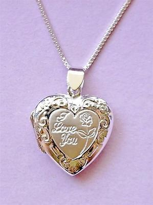 I Love You Locket Pendant & Chain Necklace STERLING SILVER 925