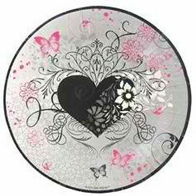 SET OF 6 X PERSONALISED 89 x120.7MM PINK AND BLACK  HEART WINE BOTTLE LABEL