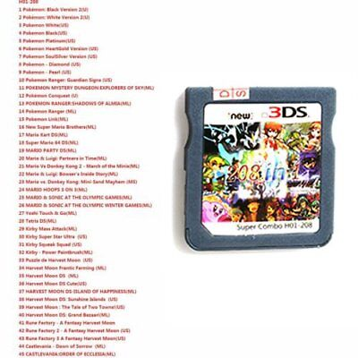 208 in 1 Game Cartridge Multicart for Nintendo DS NDS NDSL NDSI 2DS 3DS 1PCS