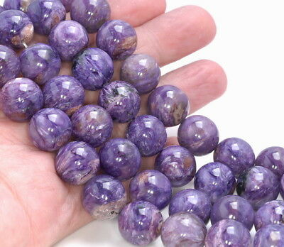 14Mm  Charoite Gemstone Grade Aaa Round Loose Beads 8""