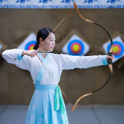 """30-50lbs 53"""" Traditional Recurve Bow Longbow Right Left Archery Practice Hunting"""