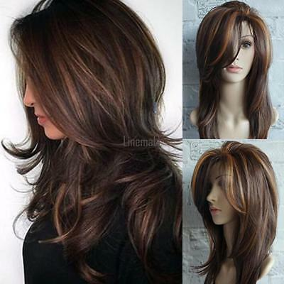 Women Synthetic Hair Wig Medium Length Curls Party Middle Part Natural Wig LM
