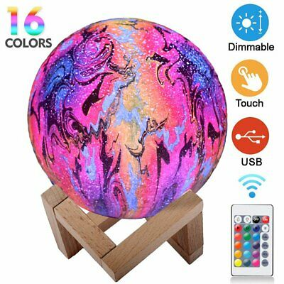 Dimmable 3D Moon Lamp LED Globe Night Light USB Moonlight Touch Remote Kids Gift