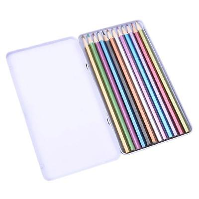 12 Colors Metallic Color Drawing Pencil 12 Assorted Colors Sketching new