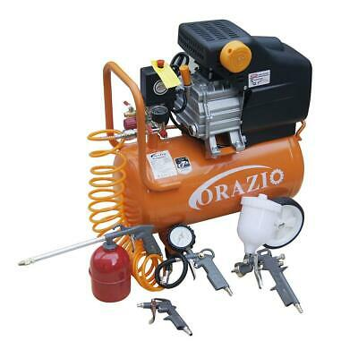 ORAZIO 24L Air Compressor With 5pcs Air Tool Kit 2.5HP Direct Drive Garage Tool