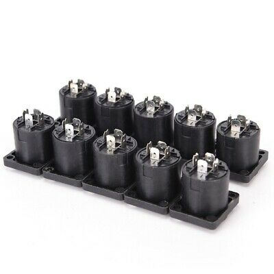 10Pcs Speakon 4 Pin Female Compatible Audio Cord Panel Chassis Socket Connector