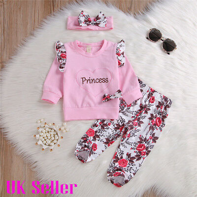 Newborn Baby Girls Tops Floral Pants Headband Tracksuit Outfits 3pcs Set Clothes