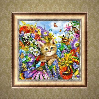 Lovely Cat DIY 5D Full Diamond Painting Embroidery Cross Stitch Home Decor Craft