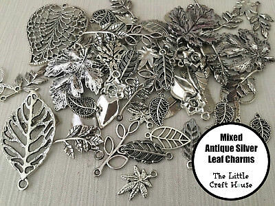 50Pieces Mixed Leaf Tibetan Silver Alloy Charm Pendants Beads Jewellery Findings