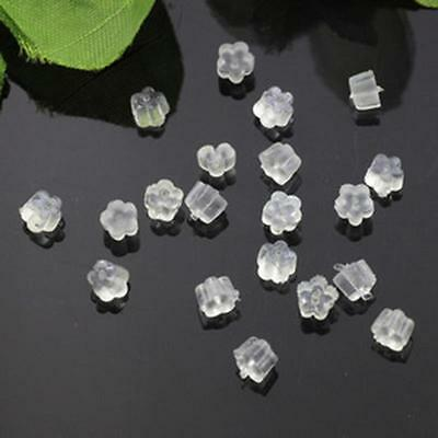 100x Soft Clear*Earring Hook Flower Safety Stoppers Earnuts Silicone Rubber *ca