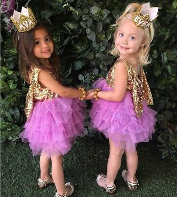 Girls Dress Vintage Big Bow Sparkly Lace Tulle Tutu Party Birthday Size 1-7 yrs