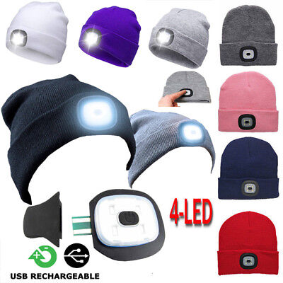 Men's Women LED Beanie Knit Ski Cap Hip-Hop Blank Color Winter Warm