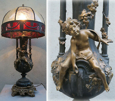 Antique Spelter Cherub lamp Ruby SLAG glass shade Figurine Vintage French Nouvea