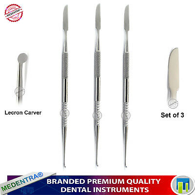 Stainless Steel Wax Carvers Lecron 15.5cm Dental Lab Carving Sculpting Set 3pcs