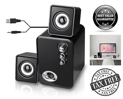 USB Powered 2.1 Computer Speakers Stereo Desktop Laptop TV Speakers System