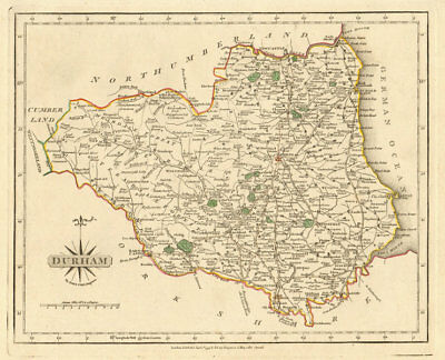 Antique map of County DURHAM by JOHN CARY. Original outline colour 1793