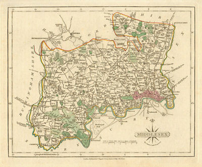 Antique county map of MIDDLESEX by JOHN CARY. Original outline colour 1793