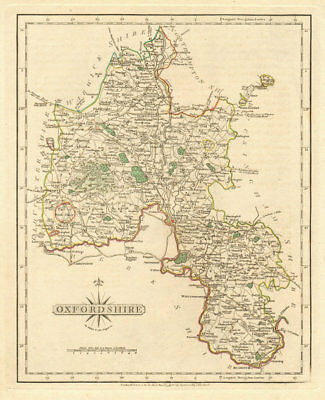 Antique county map of OXFORDSHIRE by JOHN CARY. Original outline colour 1793