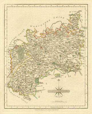 Antique county map of GLOUCESTERSHIRE by JOHN CARY. Original outline colour 1793
